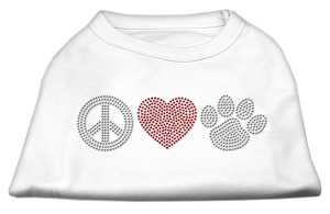 Peace Love and Paw Rhinestone Shirt White XXXL(20)