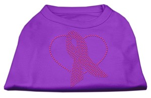 Pink Ribbon Rhinestone Shirts Purple L (14)