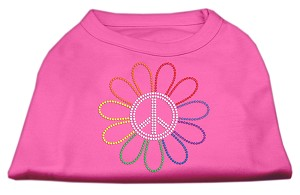 Rhinestone Rainbow Flower Peace Sign Shirts Bright Pink XS (8)