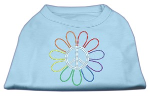 Rhinestone Rainbow Flower Peace Sign Shirts Baby Blue XS (8)