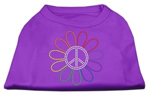 Rhinestone Rainbow Flower Peace Sign Shirts Purple S (10)