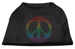 Rhinestone Rainbow Peace Sign Shirts Black XS (8)