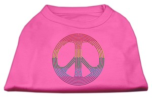 Rhinestone Rainbow Peace Sign Shirts Bright Pink XS (8)