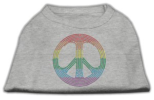 Rhinestone Rainbow Peace Sign Shirts Grey XXXL (20)