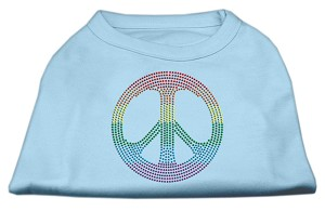Rhinestone Rainbow Peace Sign Shirts Baby Blue M (12)