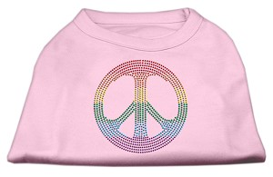 Rhinestone Rainbow Peace Sign Shirts Light Pink XS (8)