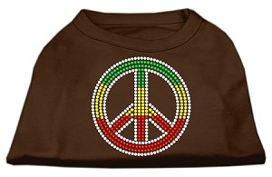 Rasta Peace Sign Shirts Brown Lg (14)
