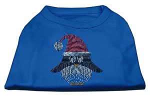 Santa Penguin Rhinestone Dog Shirt Blue XL (16)