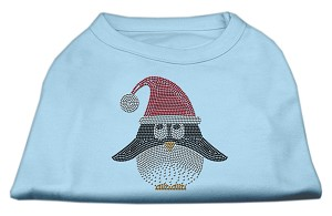 Santa Penguin Rhinestone Dog Shirt Baby Blue XS (8)