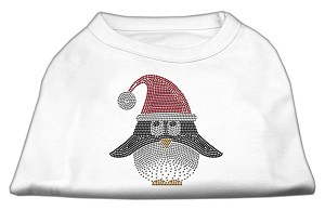 Santa Penguin Rhinestone Dog Shirt White XXL (18)