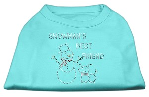 Snowman's Best Friend Rhinestone Shirt Aqua M (12)