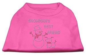 Snowman's Best Friend Rhinestone Shirt Bright Pink S (10)