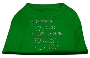 Snowman's Best Friend Rhinestone Shirt Emerald Green Lg (14)