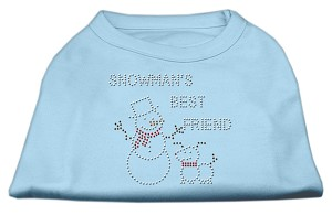 Snowman's Best Friend Rhinestone Shirt Baby Blue S (10)