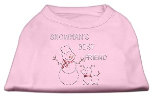 Snowman's Best Friend Rhinestone Shirt Light Pink L (14)