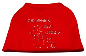 Snowman's Best Friend Rhinestone Shirt Red XS (8)