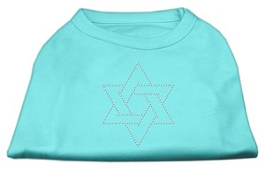 Star of David Rhinestone Shirt  Aqua XL (16)