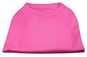 Star of David Rhinestone Shirt  Bright Pink L (14)