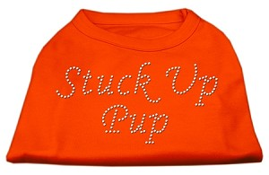 Stuck Up Pup Rhinestone Shirts Orange XS (8)