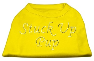 Stuck Up Pup Rhinestone Shirts Yellow XS (8)
