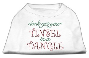 Tinsel in a Tangle Rhinestone Dog Shirt White XS (8)