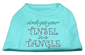 Tinsel in a Tangle Rhinestone Dog Shirt Aqua Sm (10)