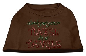 Tinsel in a Tangle Rhinestone Dog Shirt Brown XXXL (20)