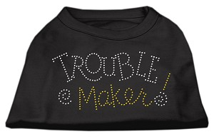 Trouble Maker Rhinestone Shirts Black S (10)