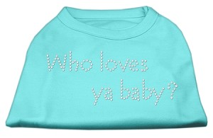 Who Loves Ya Baby? Rhinestone Shirts Aqua XS (8)