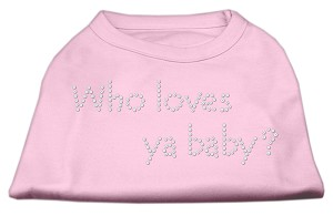 Who Loves Ya Baby? Rhinestone Shirts Light Pink XS (8)