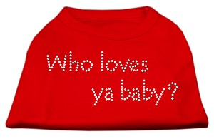 Who Loves Ya Baby? Rhinestone Shirts Red XS (8)