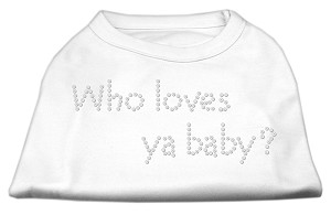 Who Loves Ya Baby? Rhinestone Shirts White XS (8)