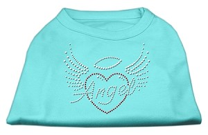 Angel Heart Rhinestone Dog Shirt Aqua XL (16)