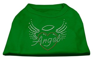 Angel Heart Rhinestone Dog Shirt Emerald Green XL (16)