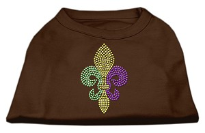 Mardi Gras Fleur De Lis Rhinestone Dog Shirt Brown XL (16)
