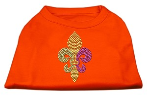 Mardi Gras Fleur De Lis Rhinestone Dog Shirt Orange XL (16)