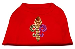 Mardi Gras Fleur De Lis Rhinestone Dog Shirt Red XL (16)
