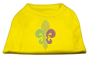 Mardi Gras Fleur De Lis Rhinestone Dog Shirt Yellow XL (16)