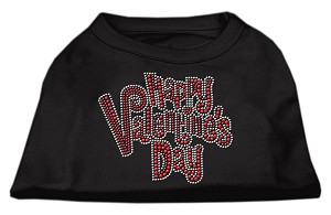 Happy Valentines Day Rhinestone Dog Shirt Black XXXL (20)