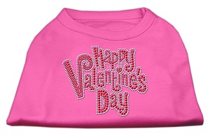 Happy Valentines Day Rhinestone Dog Shirt Bright Pink XXL (18)