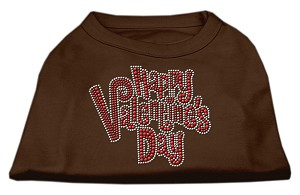 Happy Valentines Day Rhinestone Dog Shirt Brown Lg (14)
