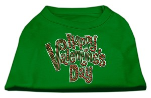 Happy Valentines Day Rhinestone Dog Shirt Emerald Green Lg (14)