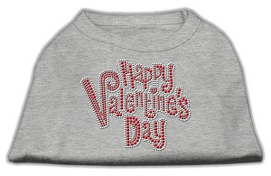 Happy Valentines Day Rhinestone Dog Shirt Grey XS (8)