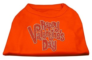 Happy Valentines Day Rhinestone Dog Shirt Orange XXXL (20)