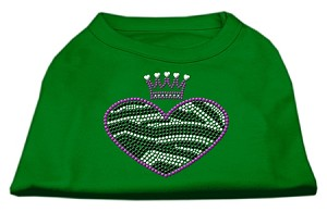 Zebra Heart Rhinestone Dog Shirt Emerald Green Lg (14)