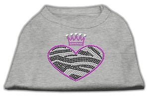 Zebra Heart Rhinestone Dog Shirt Grey XS (8)