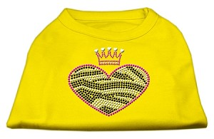Zebra Heart Rhinestone Dog Shirt Yellow Med (12)