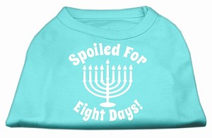 Spoiled for 8 Days Screenprint Dog Shirt Aqua Lg (14)