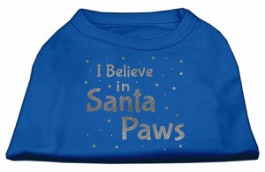 Screenprint Santa Paws Pet Shirt Blue Sm (10)