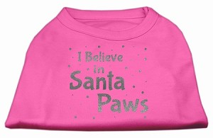 Screenprint Santa Paws Pet Shirt Bright Pink Sm (10)